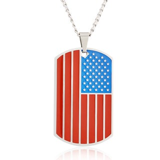 Men's Stainless Steel Etched American Flag Dog Tag Pendant Necklace