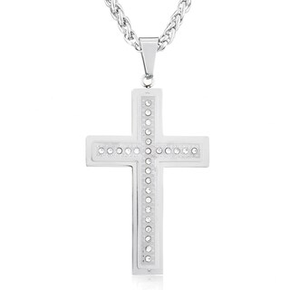 Men's Stainless Steel Double Layer Cubic Zirconia Cross Pendant Necklace