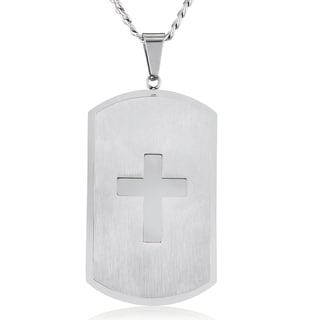 Men's Stainless Steel Laser Cut Cross Double Layer Dog Tag Necklace