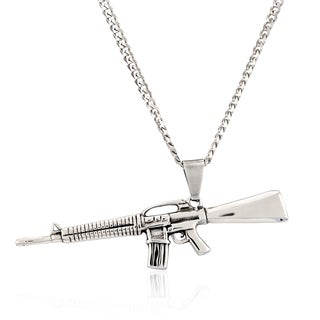 Crucible Stainless Steel AK-47 Rifle Pendant Necklace
