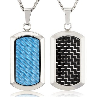 Crucible Stainless Steel Carbon Fiber Dog Tag Pendant Necklace