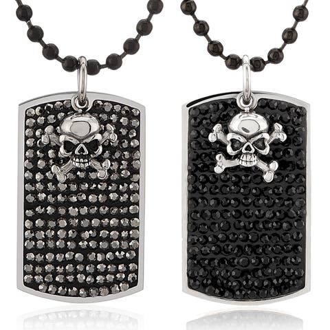 Men's Crystal with Skull Charm Stainless Steel Dog Tag Pendant