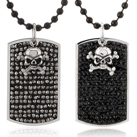 Crucible Crystal with Skull Charm Stainless Steel Dog Tag Pendant