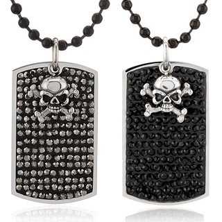 Crucible Stainless Steel Crystals with Skull Charm Dog Tag Pendant Necklace
