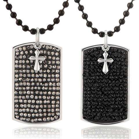 Men's Stainless Steel Cross Charm Crystal Dog Tag Pendant