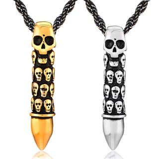 Crucible Stainless Steel Skull Capsule Bullet Pendant Necklace