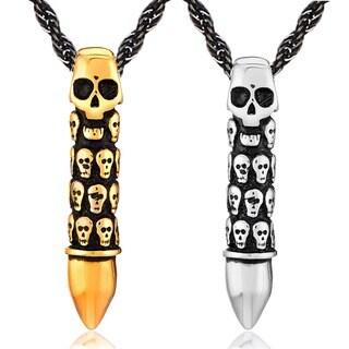 Crucible Men's Stainless Steel Skull Pendant Necklace
