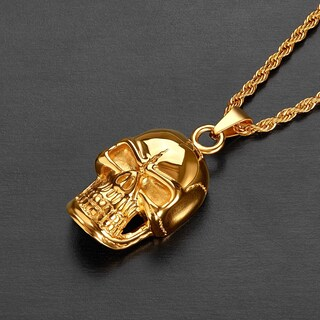 Crucible Stainless Steel Grinning Skull Pendant Necklace