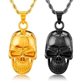 Crucible Stainless Steel Grinning Skull Pendant Necklace (2 options available)