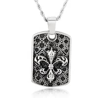 Crucible Stainless Steel Fleur de Lis Medieval Dog Tag Pendant Necklace