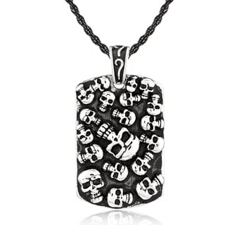 Crucible Stainless Steel Skulls Dog Tag Pendant Necklace