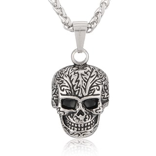 Crucible Stainless Steel Day of the Dead Skull Pendant Necklace