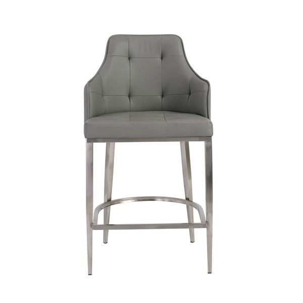 Aaron 26-inch Grey/ Stainless Steel Counter Stool