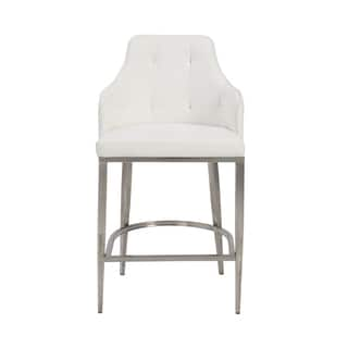 Aaron-c White/ Stainless Steel Counter Stool