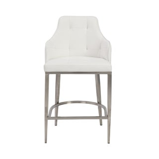 Aaron 26-inch White/ Stainless Steel Counter Stool