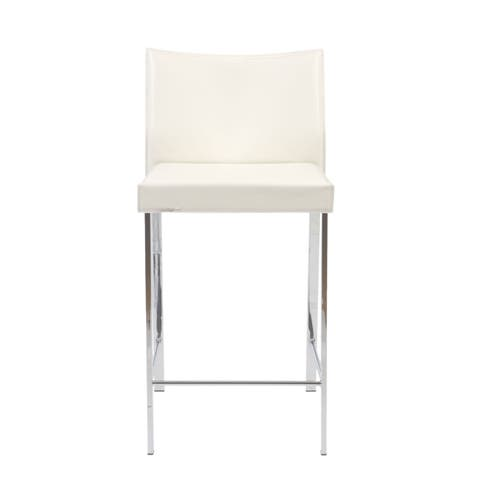 Riley 24-inch White Leather/ Chrome Counter Stool (Set of 2)