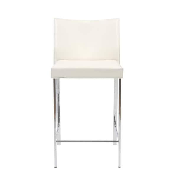 Strange Shop Riley 24 Inch White Leather Chrome Counter Stool Set Evergreenethics Interior Chair Design Evergreenethicsorg
