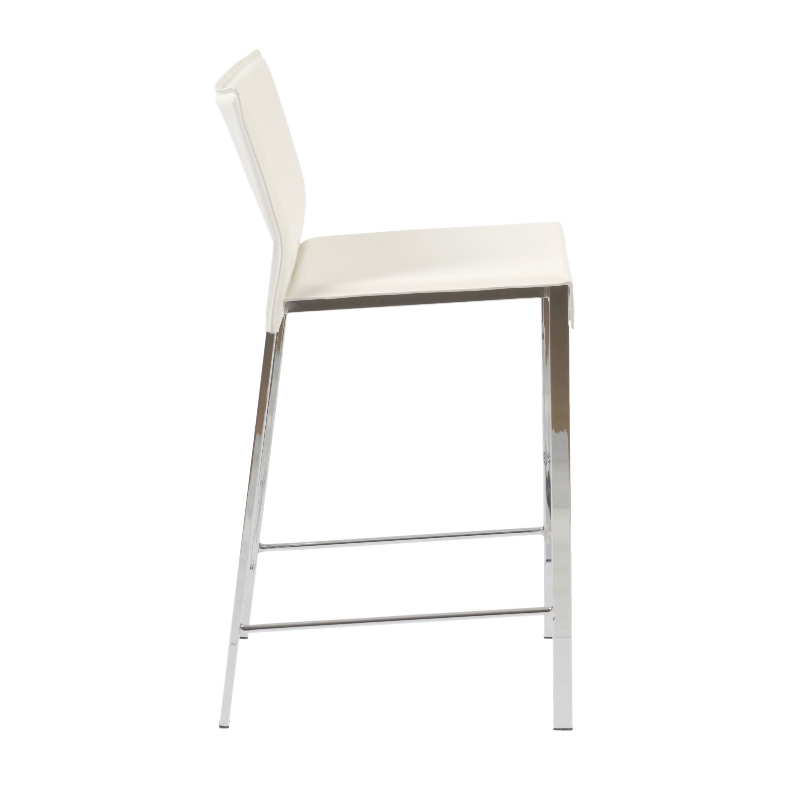 Riley 24 Inch White Leather Chrome Counter Stool Set Of 2