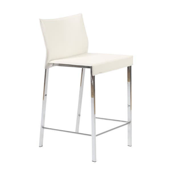 Superb Shop Riley 24 Inch White Leather Chrome Counter Stool Set Evergreenethics Interior Chair Design Evergreenethicsorg