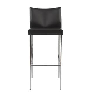 Riley-b Black Leather/ Chrome Bar Stools (Set of 2)