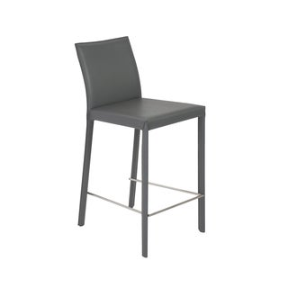 Hasina 26-inch Grey/ Stainless Steel Counter Stool (Set of 2)