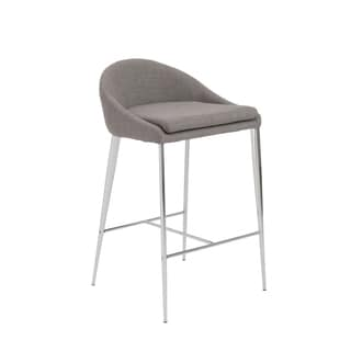Brielle 26-inch Grey/ Chrome Counter Stool (Set of 2)