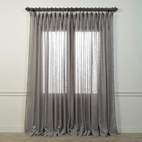 Exclusive Fabrics Signature Double Wide Grey Sheer Curtain Panel