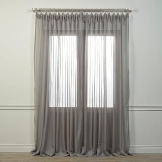 Exclusive Fabrics Doublewide Solid Grey Voile Poly Sheer Curtain Panel