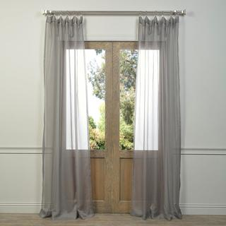 Exclusive Fabrics Solid Grey Voile Poly Sheer Curtain Panel Pair