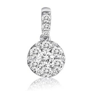 14K White Gold 1/3ct TDW Round-cut Diamond Pendant