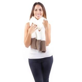 Hadari Women's Thick Knit Contrast Scarf