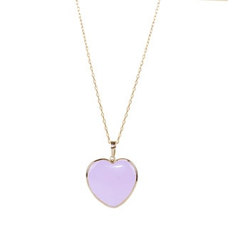 14k Yellow Gold Pink Jade Heart 17-inch Necklace