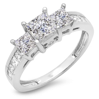 Elora 14k White Gold 2ct TDW Princess and Round Diamond 3-stone Bridal Ring (J-K, I1-I2)