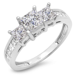 14k White Gold 2ct TDW Princess and Round Diamond 3-stone Bridal Ring (J-K, I1-I2)