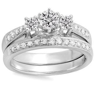 14k White Gold 4/5ct TDW Round Diamond 3-stone Bridal Ring Set (J-K, I1-I2)