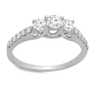 14k White Gold 3/4ct TDW Round-cut Diamond 3-stone Engagement Ring (J-K, I1-I2)