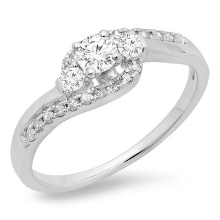 Elora 14k White Gold 1/2ct TDW Round-cut Diamond Ring