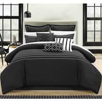 Porch & Den Highland Stitch Embroidered Black 9-piece Comforter Set
