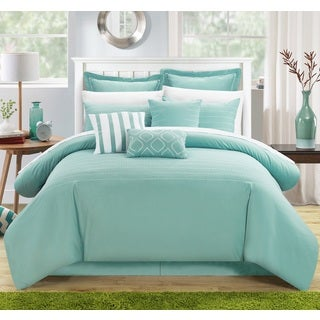 Chic Home Karlston Stitch Embroidered Blue 9-piece Comforter Set - Thumbnail 0