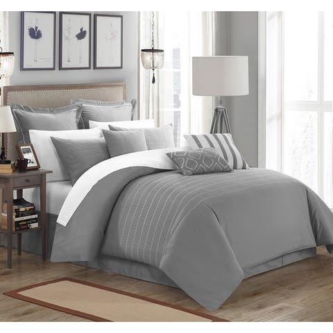 Carson Carrington Juelsminde 9-piece Grey Embroidered Comforter Set