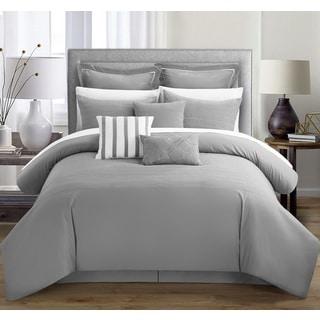Chic Home Karlston Stitch Embroidered Grey 9-piece Comforter Set