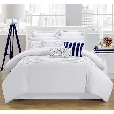 Porch & Den Highland Stitch Embroidered White/ Navy 9-piece Comforter Set