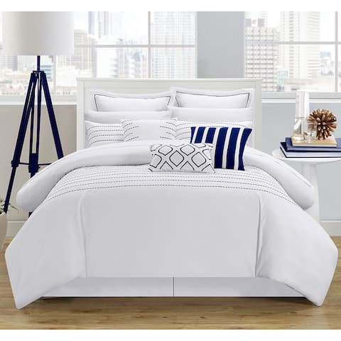 Porch & Den Highland Stitch Embroidered White/ Navy 9-piece Comforter Set