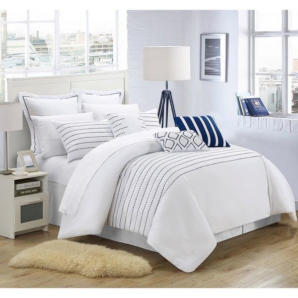 Porch Den Highland Stitch Embroidered White Navy 9 Piece Comforter Set Overstock 20254989 Queen