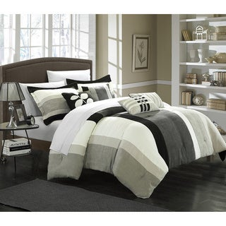 Chic Home Valley 7-piece Plush Microsuede Striped Comforter Set