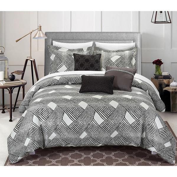 Chic Home 6-piece Antoinette Luxury Jacquard Grey Comforter Set