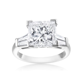 5 1/2ct Princess-cut and Tapered Baguette Diamond Ring - White