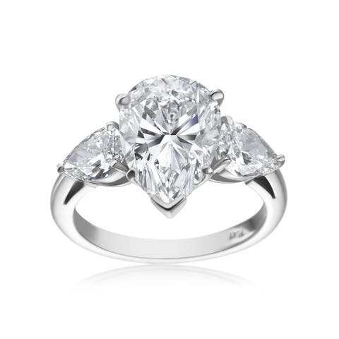 5 ¾ TDW 3-stone Pear-cut Diamond Platinum Ring