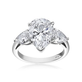 SummerRose Platinum 5 3/4ct TDW Pear-cut Diamond 3-stone Ring