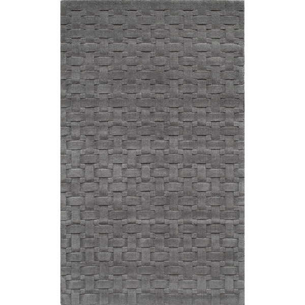 Manhattan Basketweave Charcoal Wool Area Rug - 8' x 10'